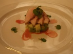 Strawberry gum and tonka bean cured ALD crocodile, watercress & avocado salad with caramelised orange dressing.