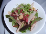 Lilly Pilly (red berries) salad with macadamias and bunya nuts (giant pine nuts).
